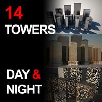 city towers 3d obj