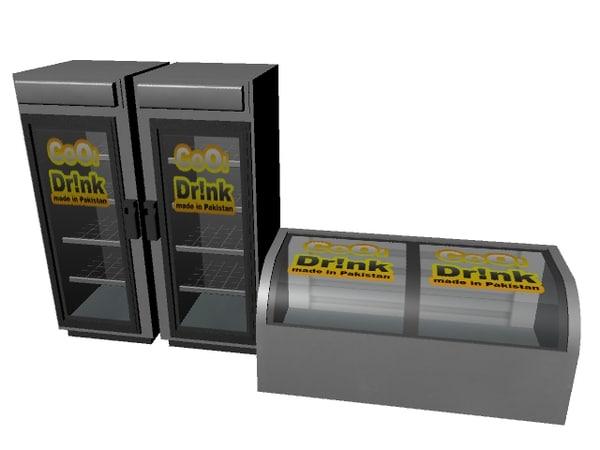 3d model fridge cold drink