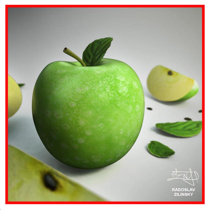 3d realistic apple - model