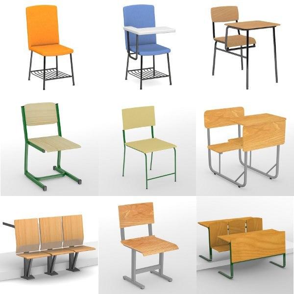 3d model school chairs