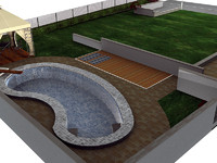garden swimming pool 3d model