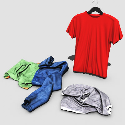 3d max clothes t-shirt pants