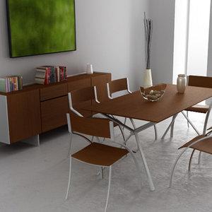 3d model dining room interior 03b