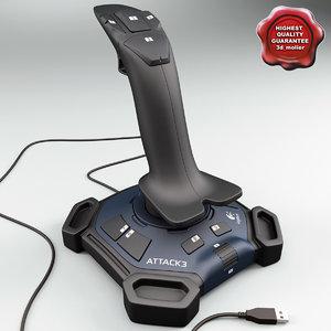 3d model joystick logitech attack 3