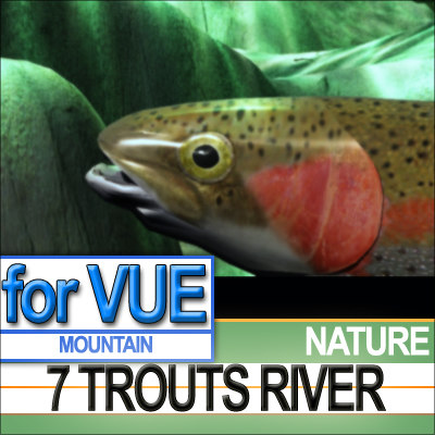 3d 7 rainbow trouts river model