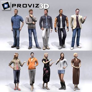 3d 30 people casual
