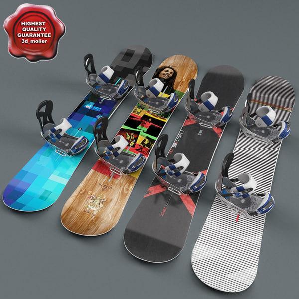 3d model snowboards set outdoor