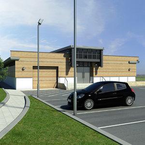 3ds max sports pavillion utility building