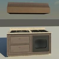 custom kitchen island grill 3d model