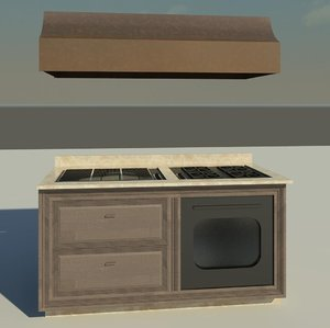custom kitchen island grill 3d model