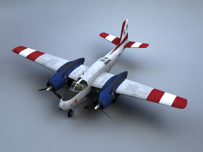 a-26 invader bomber water 3d model