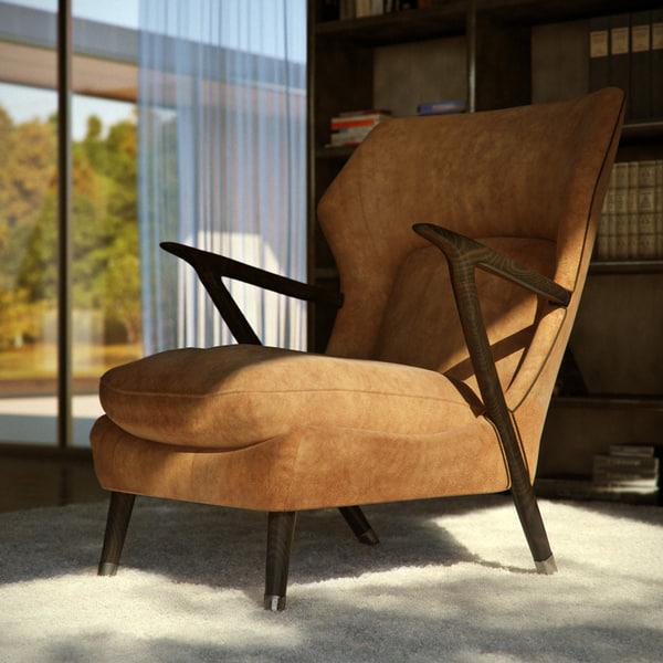 armchair leather chair 3d model