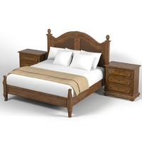 Henredon Classic Traditional Country Bedroom Set Bed  Nightstand