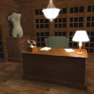 luxury office 3d 3ds
