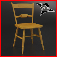 chair wood old 3d max