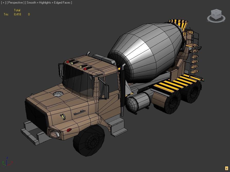 Concrete Mixing Animation : Free concrete mixer truck d model