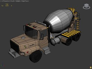 free concrete mixer truck 3d model