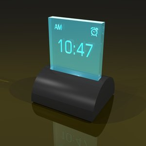 3d model illuminated digital alarm clock