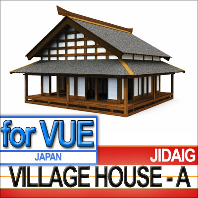 3ds japanese village house -