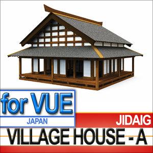 3ds japanese village house -
