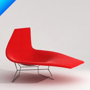 3d bertoia asymmetric chaise knoll furniture