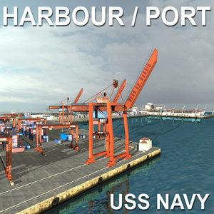 3d model uss harbour seaport port