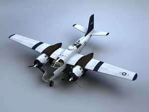 3d model a-26 invader bomber guns