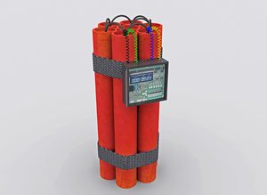 3d model bomb dynamite detonator
