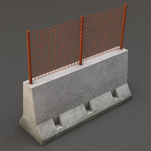 concrete barrier grid 3d model