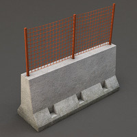 concrete barrier grid 3d model