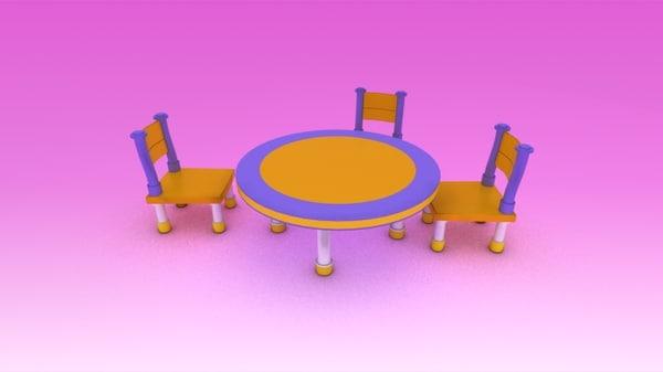 cute furniture children 3d 3ds