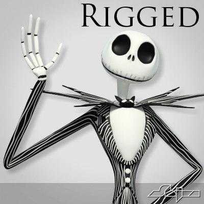3d jack skellington rigged biped