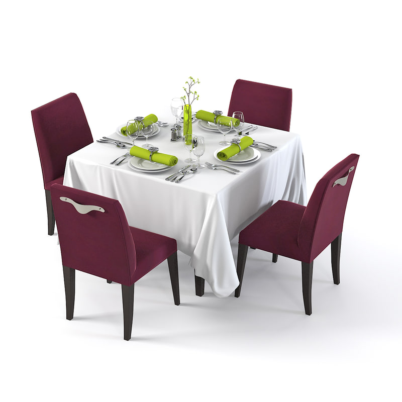 Square restaurant table 3d 3ds for Restaurant table menu
