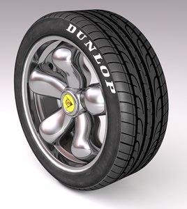 3d model car tire tyre rim