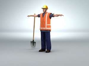 worker road digger midpoly 3d 3ds