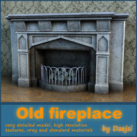 3ds max old fireplace