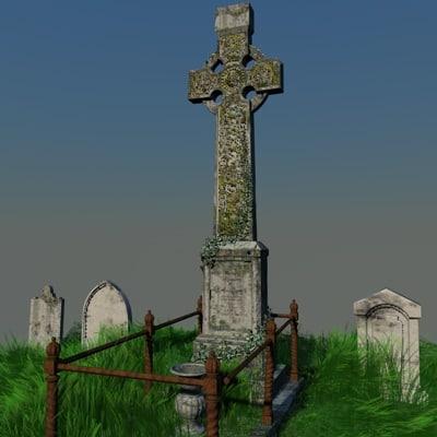irish celtic cross 3d model
