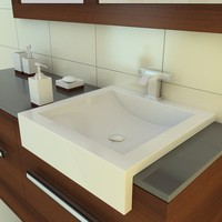 3d model of bathroom furniture sink faucet