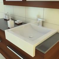 3d model of bathroom furniture sink faucet