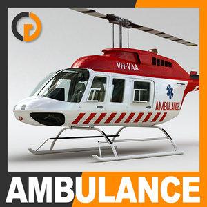 3d ambulance bell 206l interior model