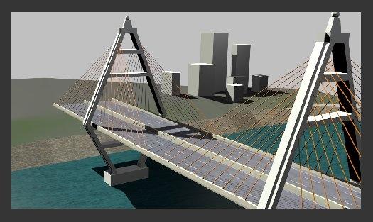 suspension bridge 3d model
