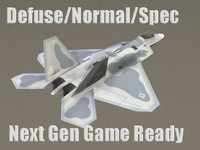 F-22 Raptor US Stealth Fighter Plane Game Ready Model
