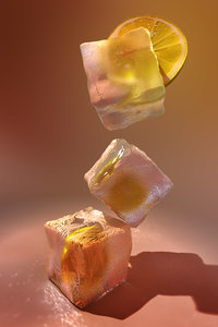 3d lemon slice ice cubes model
