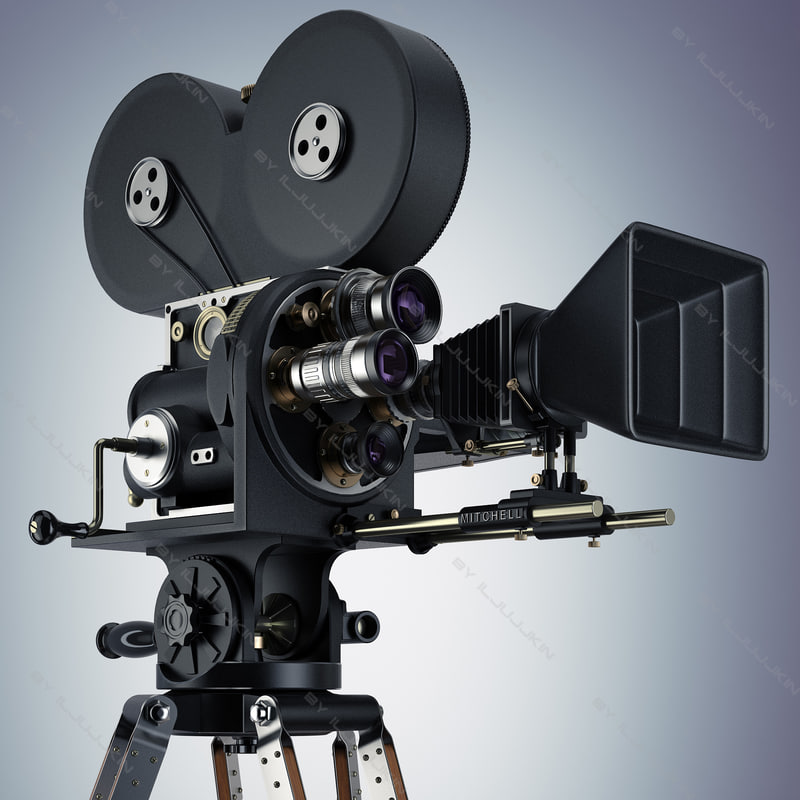 camera retro movie 3d model