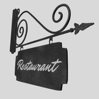 enseigne restaurant 3d model