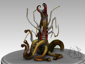 3d alien worm model