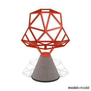 chair concrete base magis 3d 3ds