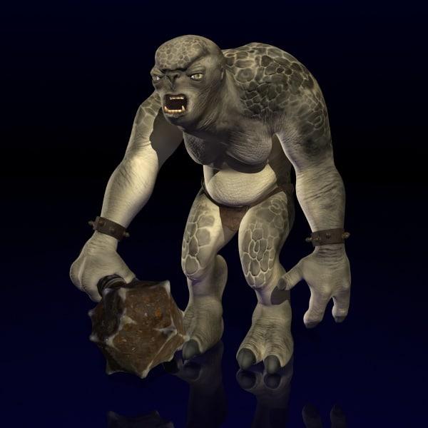 3dsmax rigged cave troll