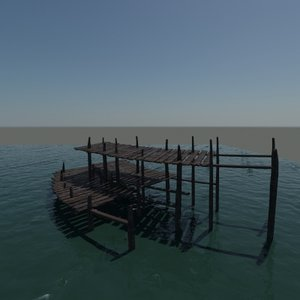 old boat dock 3d max