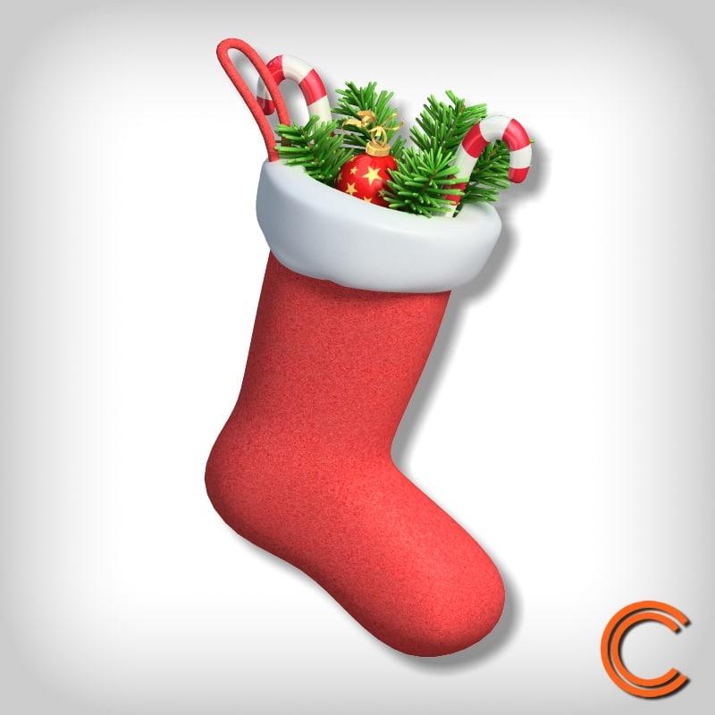 xmas sock christmas 3d obj